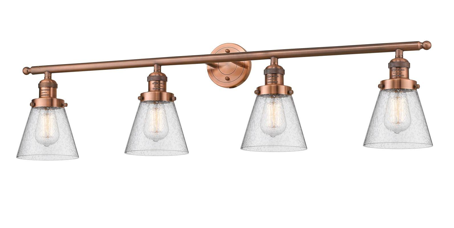 Photo of Innovations Lighting 215-AC-G64 Antique Copper / Seedy 4 Light 42″ Wide Bathroom Vanity Light