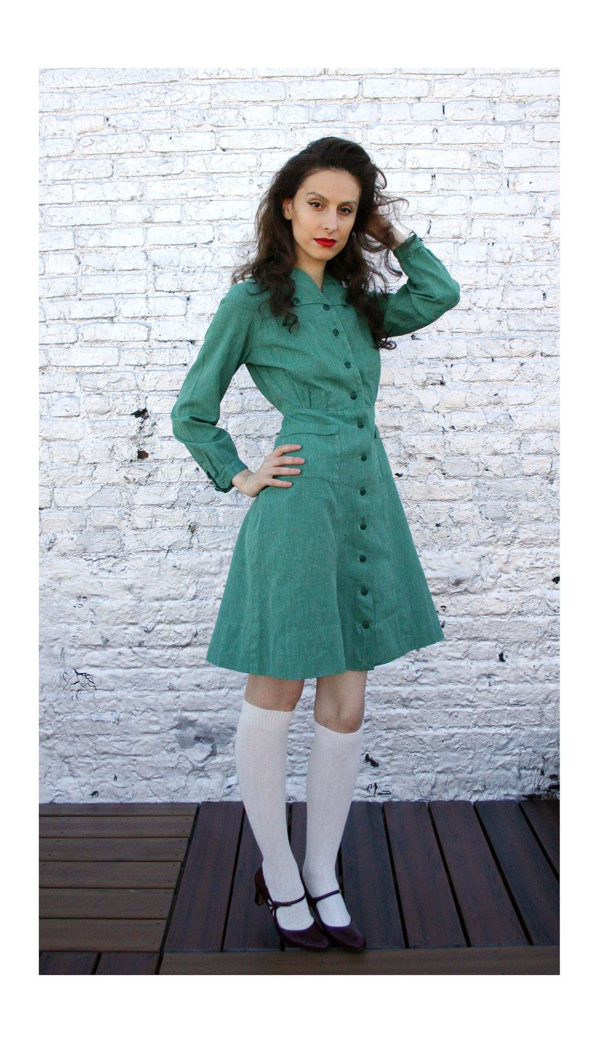 40\'s 50\'s Girl Scout Uniform Dress troop leader size Adult Medium ...