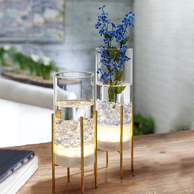 Amazon Com Mj Premier Set Of 2 Modern Light Up Clear Glass Cylinder Flower Vases With Lights Gold Metal Stand Time Vase With Lights Table Vases Clear Vases