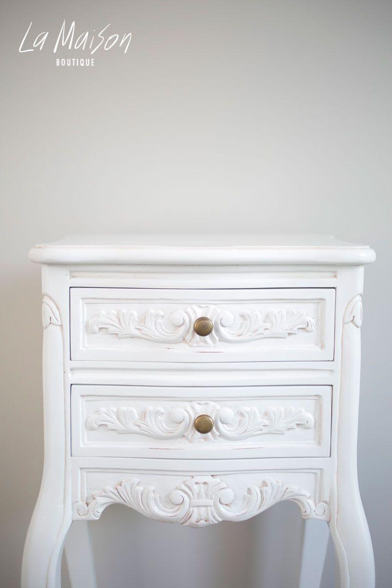 Louis Bedside Table Antique White Antique Bedside Tables