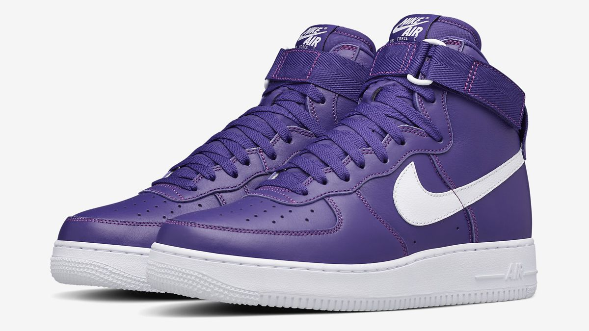 896dbd4253bc22 The Nike Air Force 1 High in its classic Purple White makeup is making a  return once again. Look for the model at Nike retailers soon.