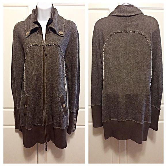Free People Dark Brown Sweater Jacket | Mock turtle, Dark brown ...