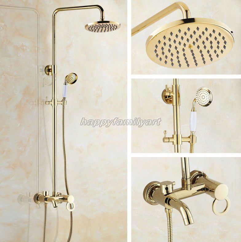 Gold Color Polished Brass Bath Rainfall Shower Faucet Set Tub Mixer ...