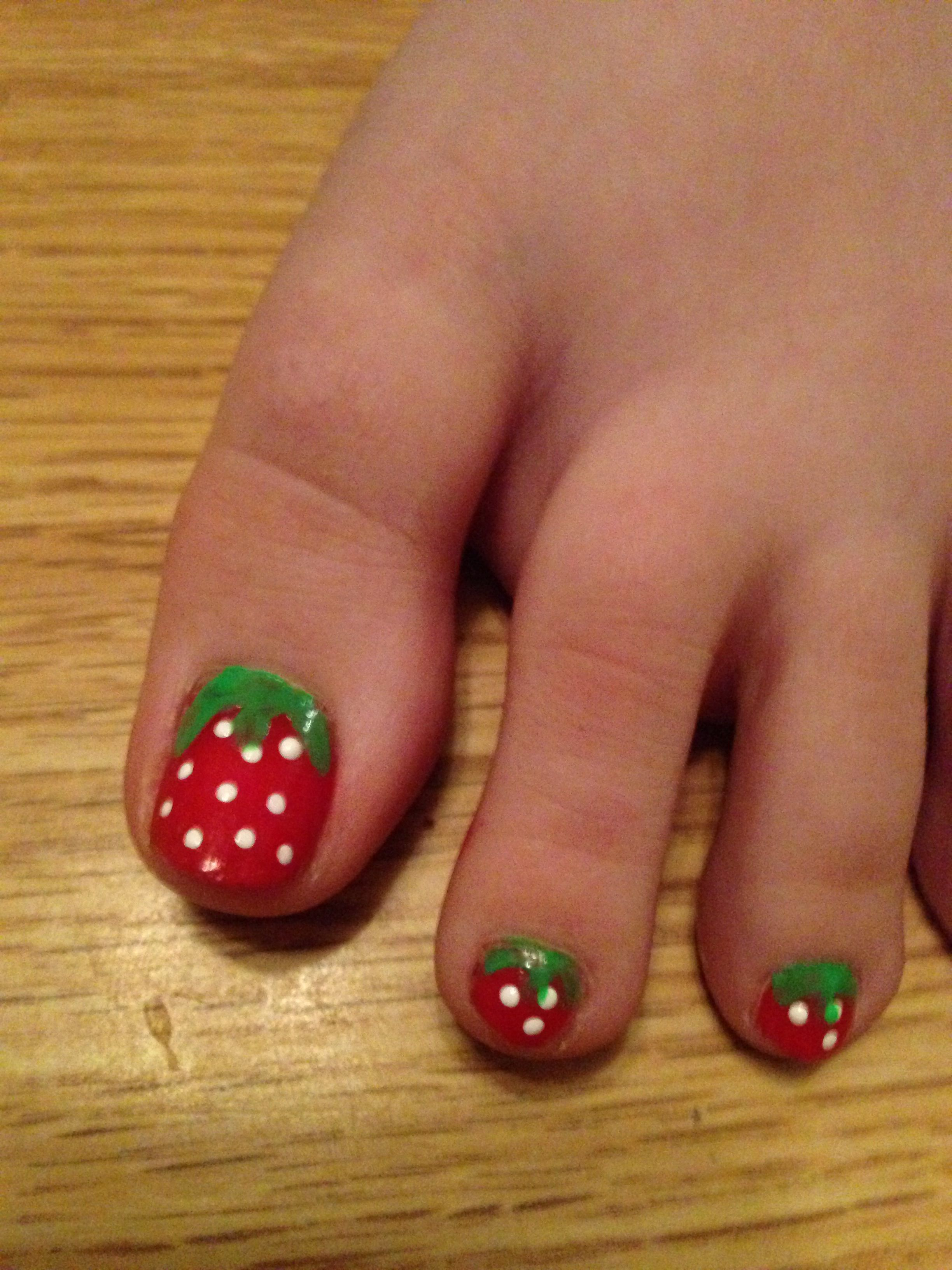 Strawberry Toes Nail Art Pretty Toe Nails Cute