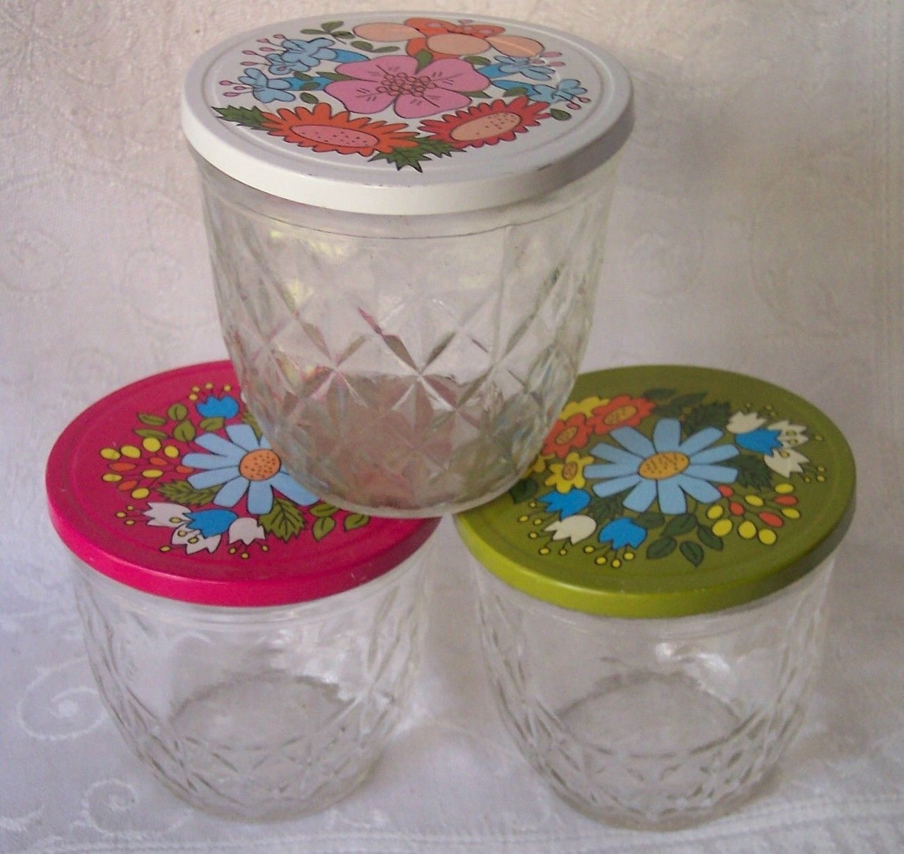 ball quilted crystal jelly jars and metal lids flower power ball quilted crystal jelly jars and metal lids flower power vintage set of 3