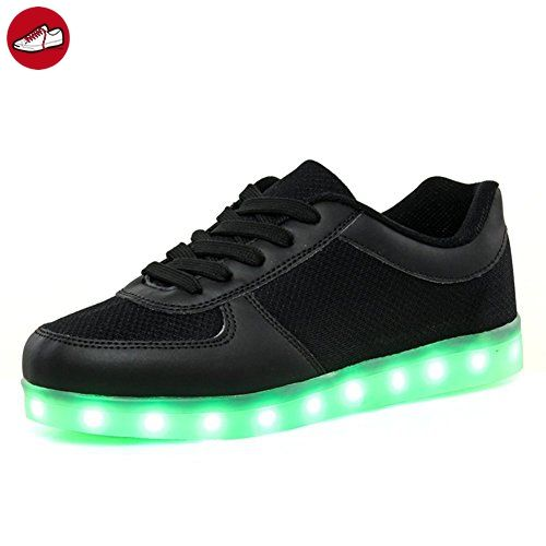 (Present:kleines Handtuch)Schwarz EU 42, Leuchtende mode Schuhe Led Farbwechsel Blinkende Sneakers Top JUNGLEST® Light Spo