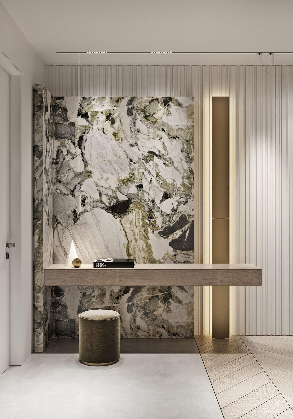 Marbled And Modern Interior Design In Moscow Contemporary