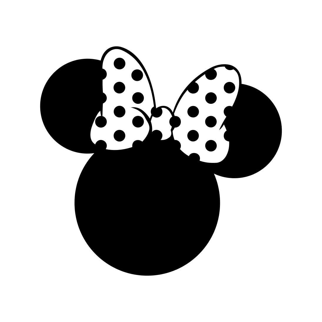 Minnie Mouse Head Polka Dot Bow Graphics Svg Dxf Eps Png Cdr Ai Pdf Vector Art Clipart Instant Download Digita Disney Silhouettes Disney Logo Disney Silhouette
