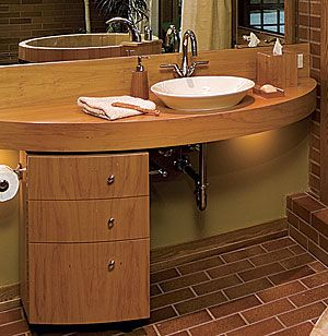This bathroom sink gives enough space for a wheel chair to access the sink easily by being able to get closer, this dessign also seems to be lower, which also gives a wheel chair easier access and comfort.   http://www.finehomebuilding.com/Design/Floor-Plans/62296.aspx?channel=2