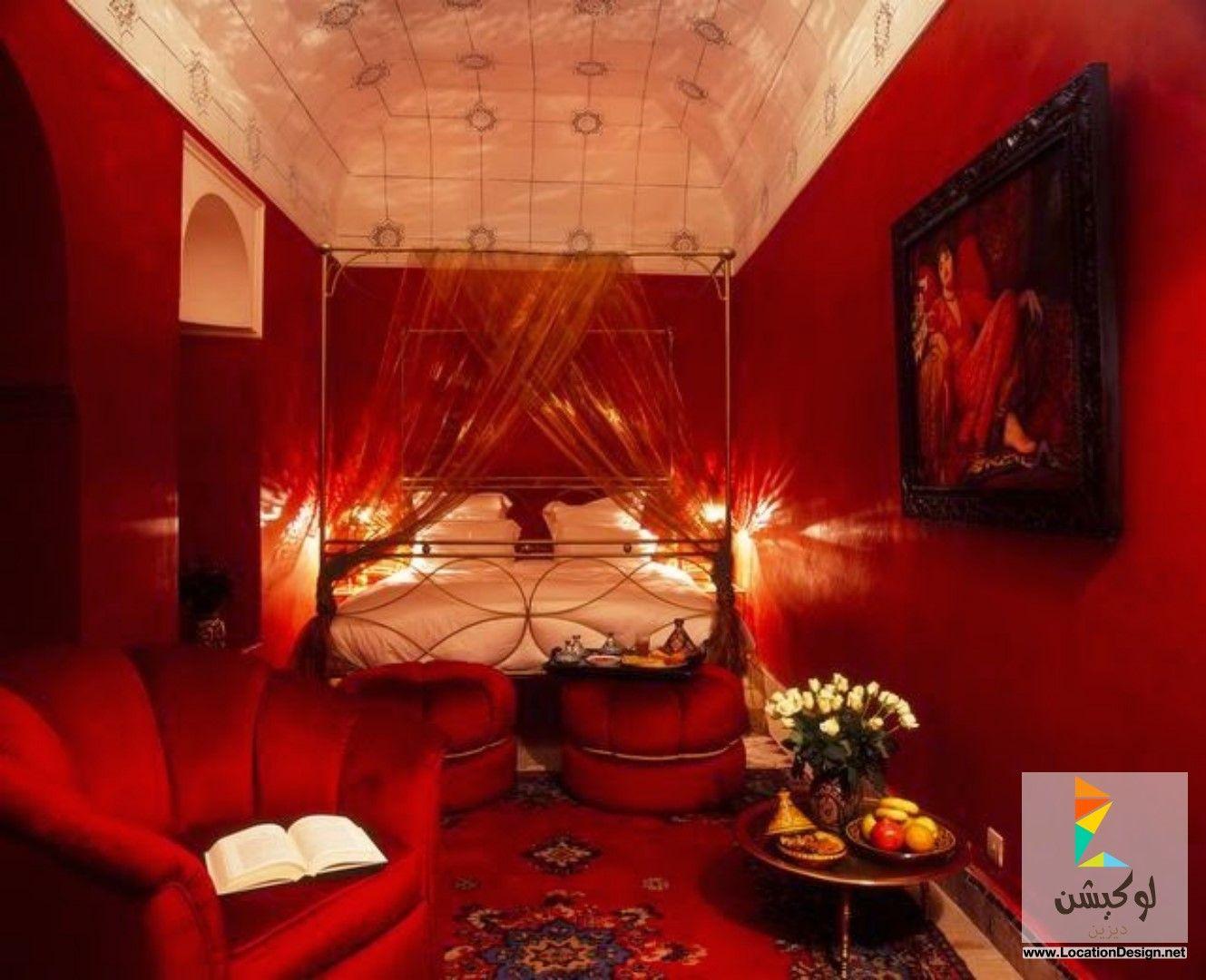 دهانات غرف نوم احمر وابيض | دهانات | Pinterest