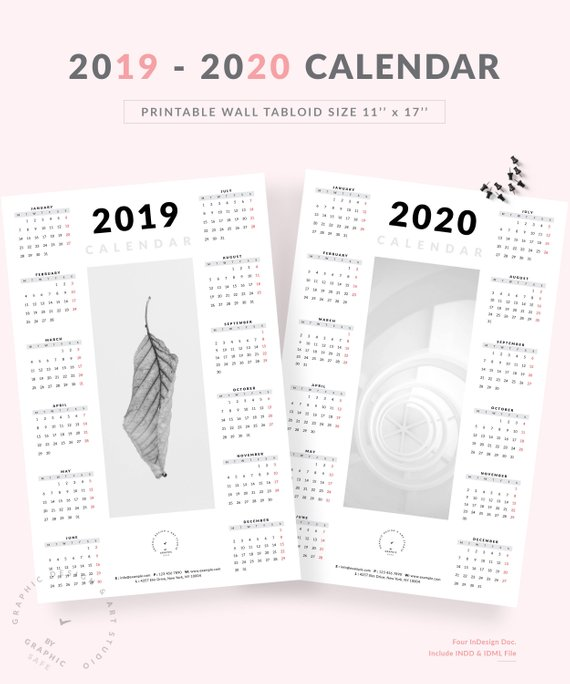 December Calendars 2020 Indesign Wall Calendar 2019   2020 | Minimalist One Page Tabloid Size Wall