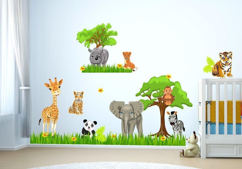 Wandtattoo Baby Zoo Dschungel Tiere Safari Löwe Elefant Giraffe