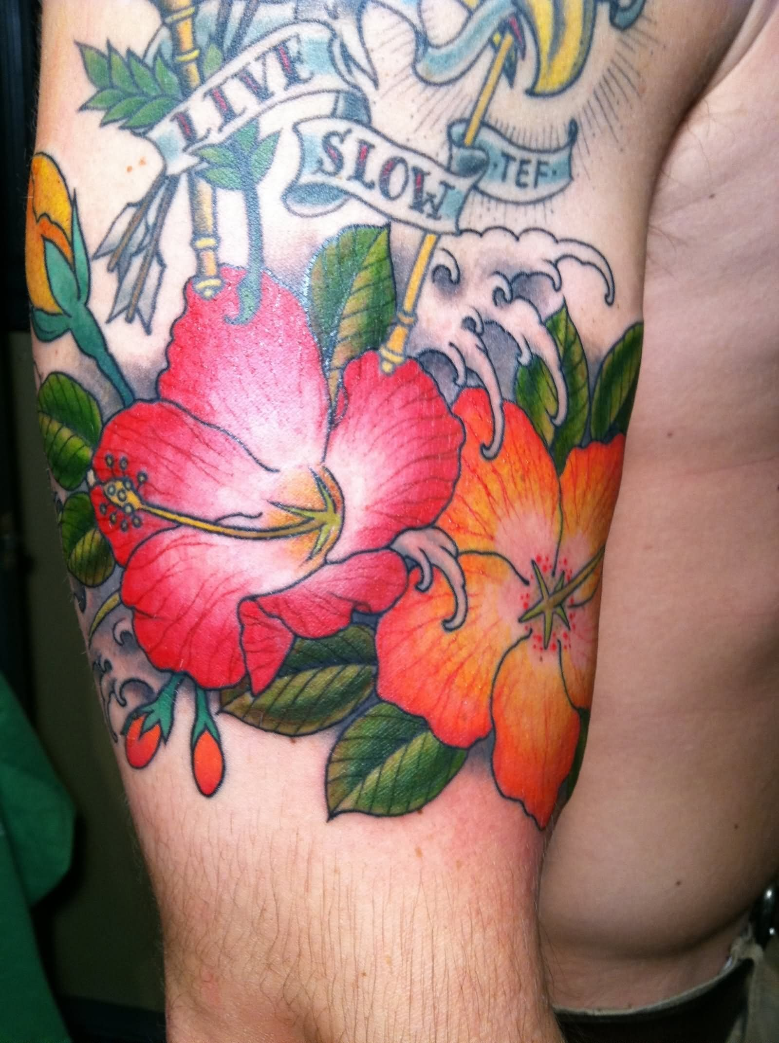 Colorful Hibiscus Flowers With Banner Tattoo On Half Sleeve Tatt