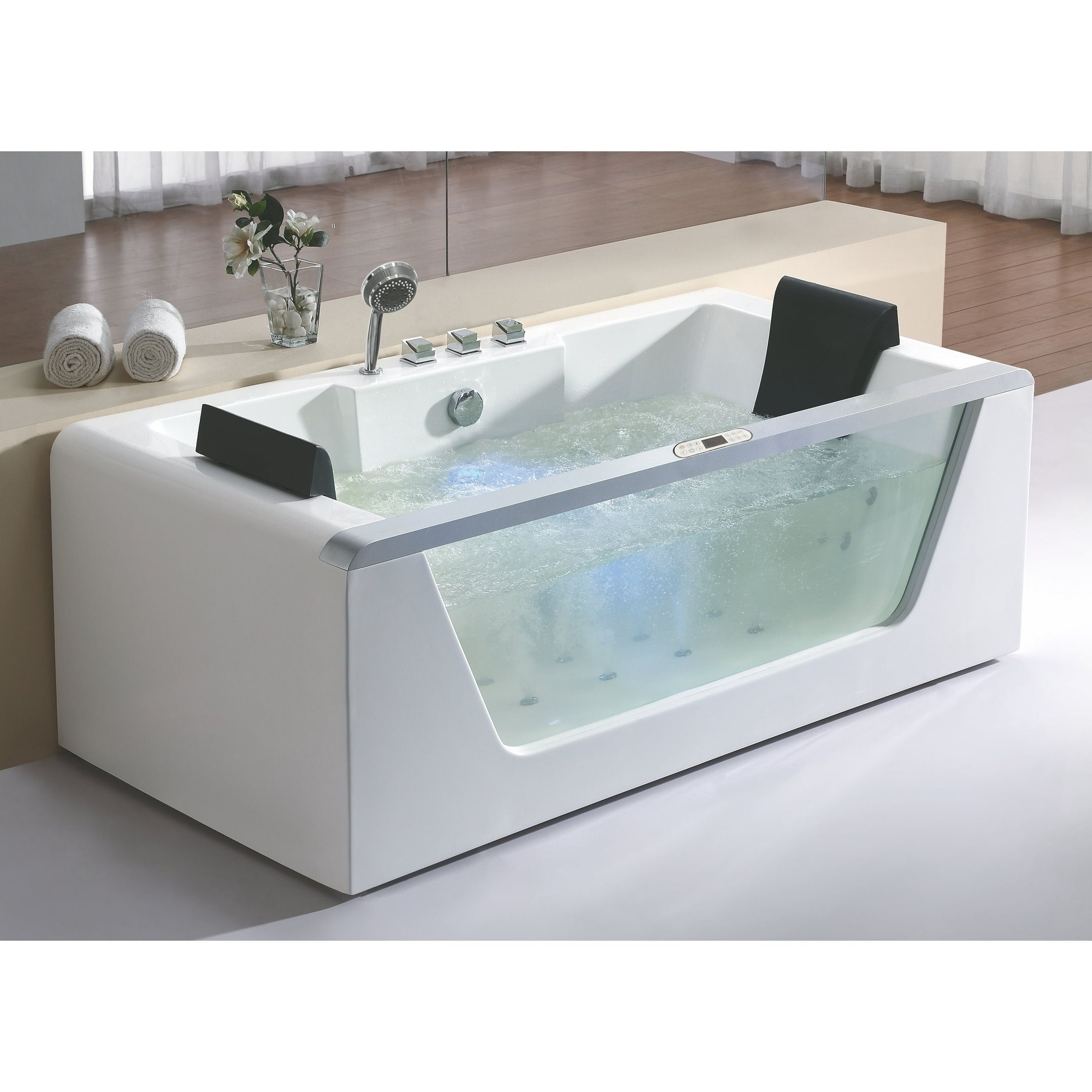 Eago AM196ETL 6 ft Clear Rectangular Acrylic Whirlpool Bathtub for ...