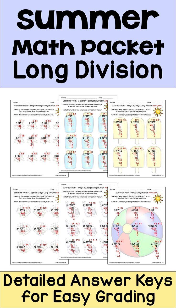 Summer Math Packet Long Division Worksheets Math, Long