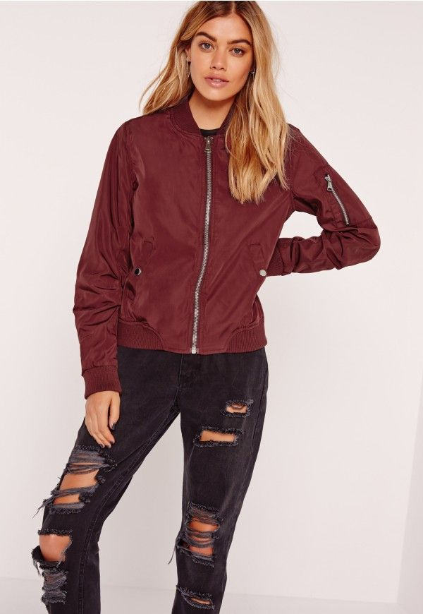 395f2120ff2 lightweight zipped sleeve pocket bomber jacket burgundy