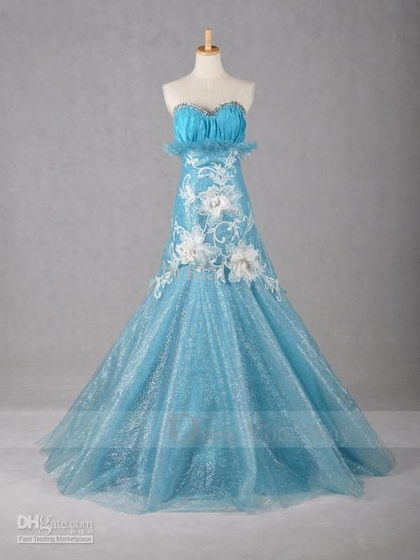 2015 Designer Mermaid Light Blue Wedding Dress Crystals Embroideried ...