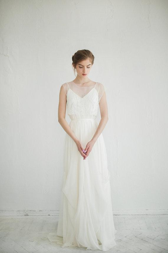 Free fitted silk wedding dress, illusion neckline dress, maternity ...
