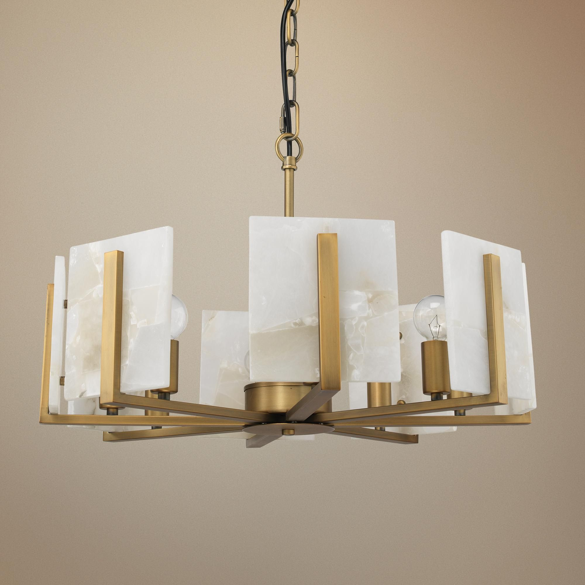 Jamie Young Halo 21 Wide Brass And Alabaster Chandelier