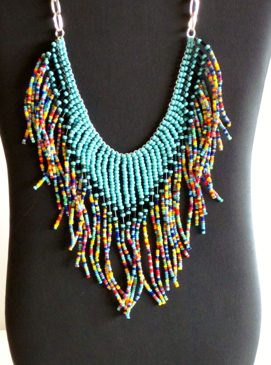hippie jewelry in bib necklace item beaded statement necklaces ethnic american indian native from maxi chain women collier plastron chunky