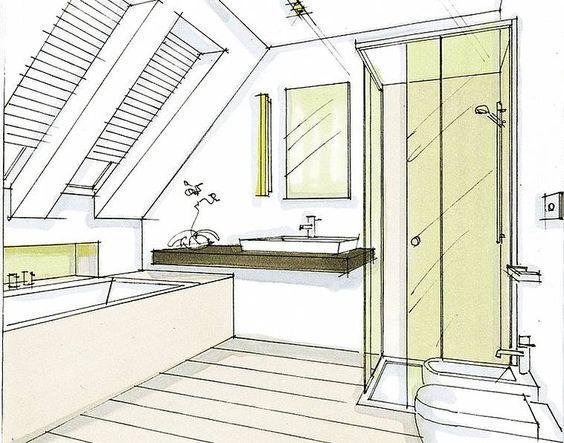 Salle de bain de 6m2 baignoire douche wc recherche for Salle de bain toit en pente