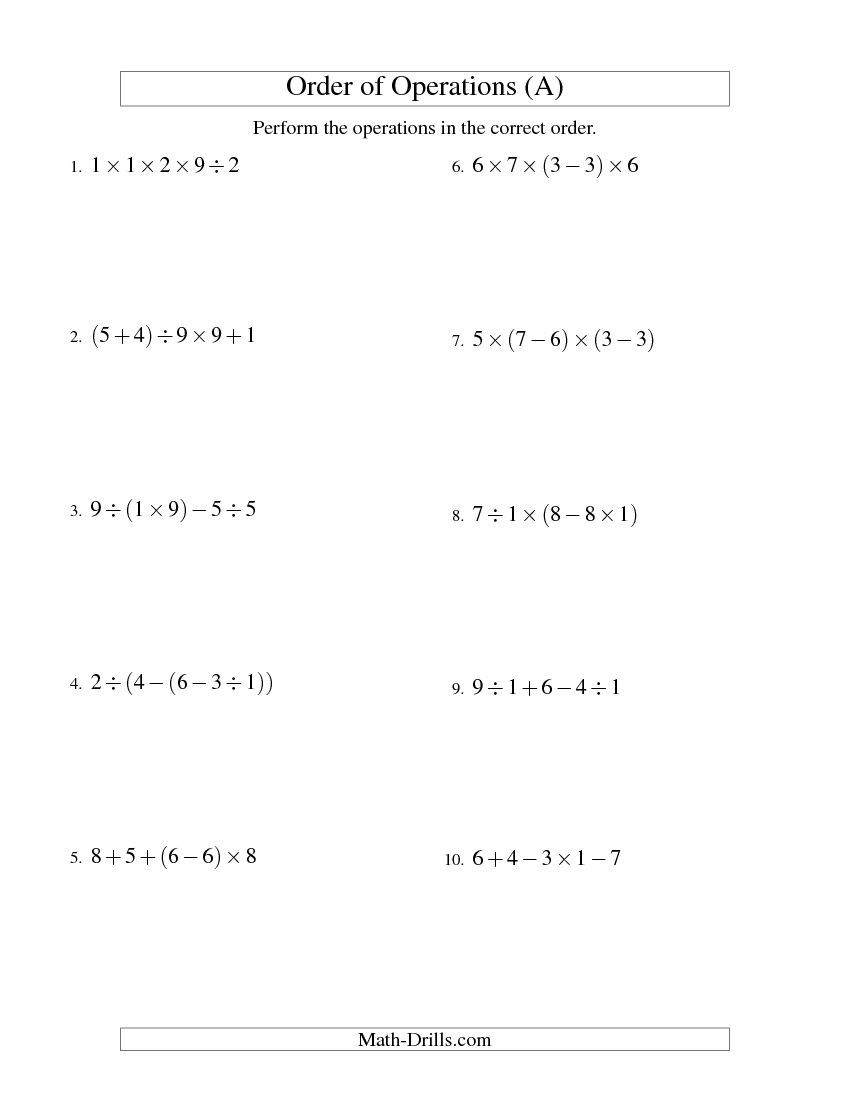Integers order of operations four steps multiplication integers order of operations four steps multiplication division addition and subtraction all math worksheet freemath ibookread ePUb
