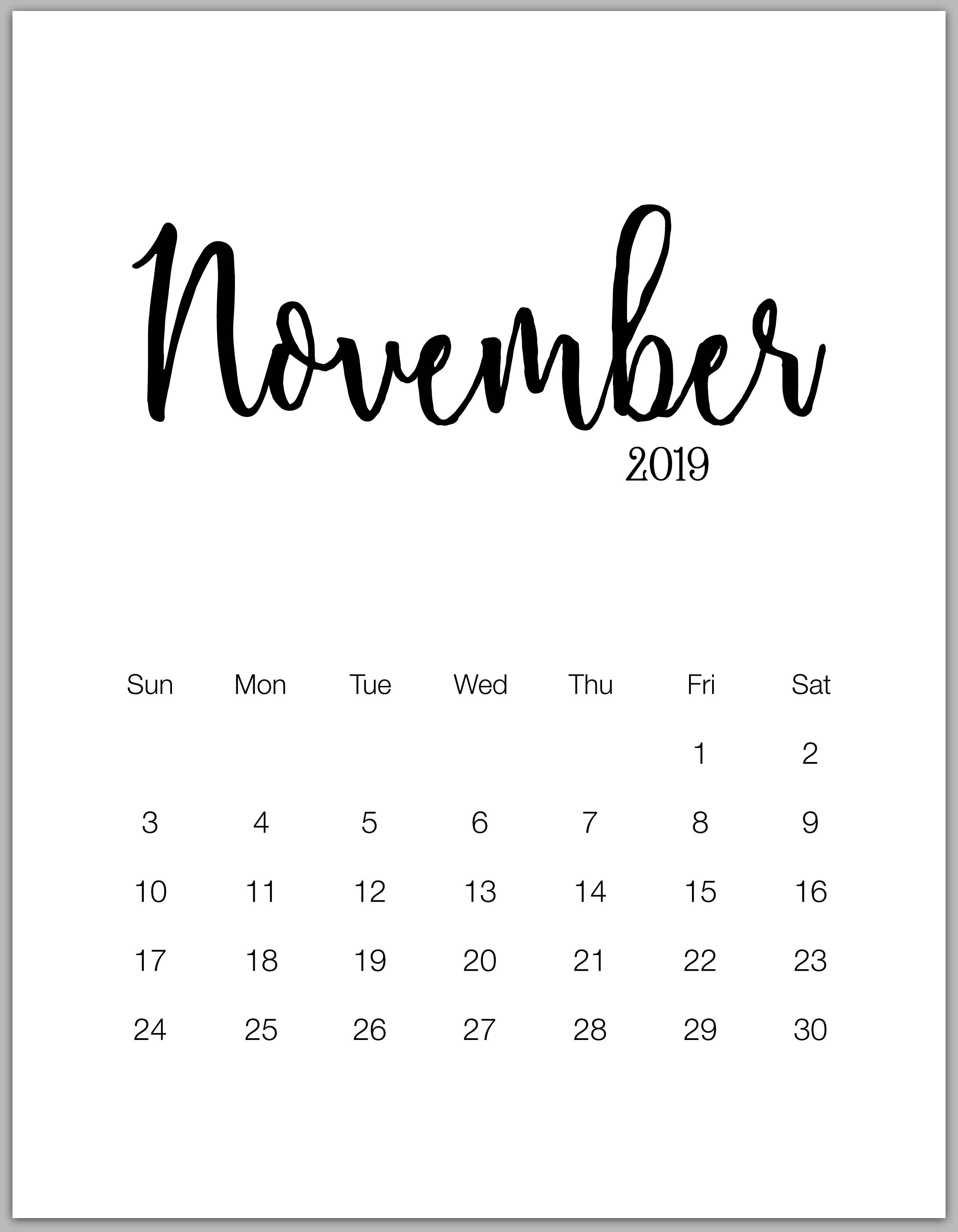 Calendar For November 2019-January 2019 november 2019 minimalist calendar | bbb | November calendar, Free