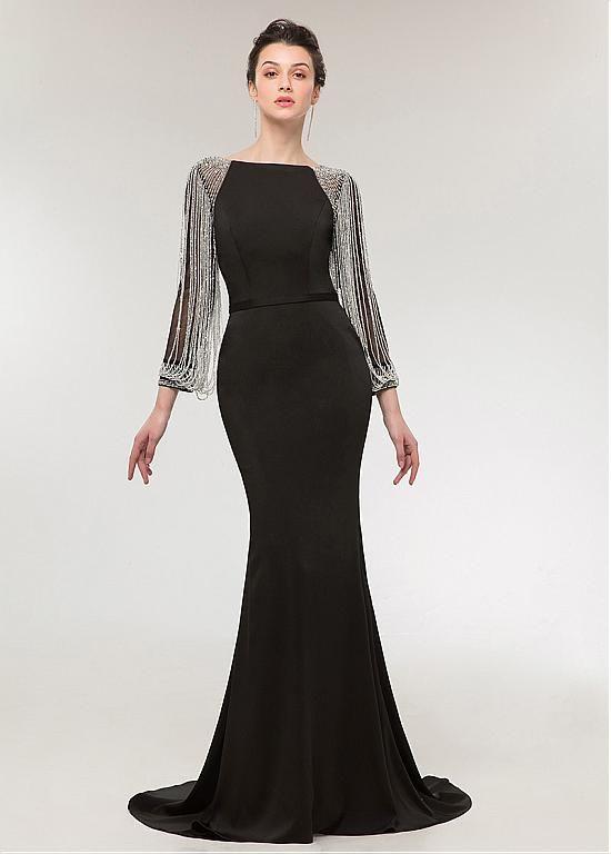 [189.59] Charming Four Way Spandex Bateau Neckline Long Sleeves Sheath /Column Evening Dress With Beadings