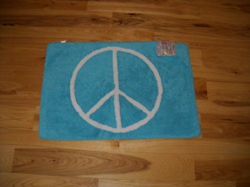 Peace Sign Bathroom Decor Girls Bedroom Decor Aqua Blue Throw Rug Bathroom Mat With White