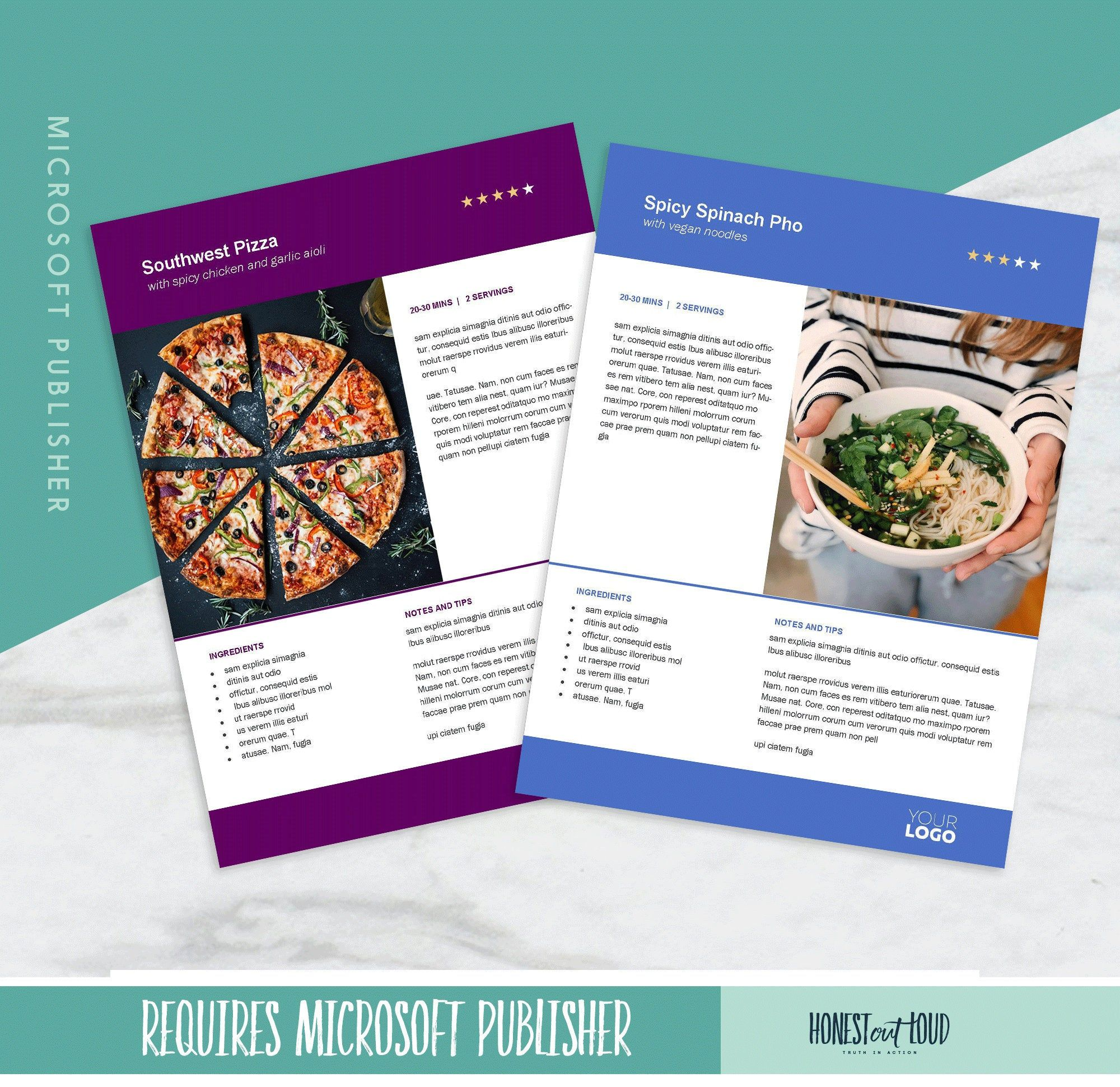 Recipe Cookbook Template Printable 8 5x11 Microsoft Publisher Instant Download For Kitchen Binde Cookbook Template Recipe Binder Template Microsoft Publisher
