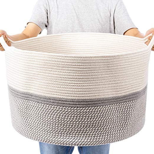 Organihaus Xxl Extra Large Cotton Rope Basket 20 X13 5 Blanket Storage Basket In 2020 Blanket Storage Basket Blanket Storage Storage Baskets