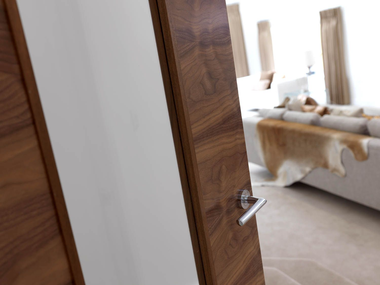 Clear glazed walnut internal door. The pre-finished walnut veneers look beautiful close up & Clear glazed walnut internal door. The pre-finished walnut veneers ...