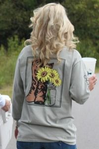 Boots & Sunflowers Long Sleeved Tee: Sandstone