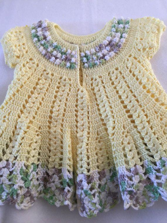 Crocheted yellow baby girl dress