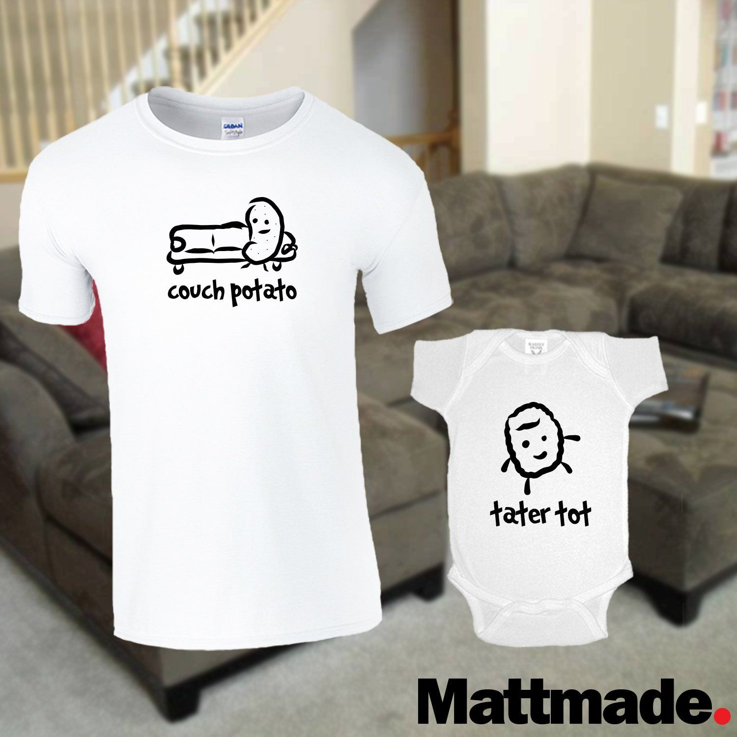 a4efb76d Couch Potato / Tater Tot / Dad & Baby Matching Shirts / White shirt and  jumper
