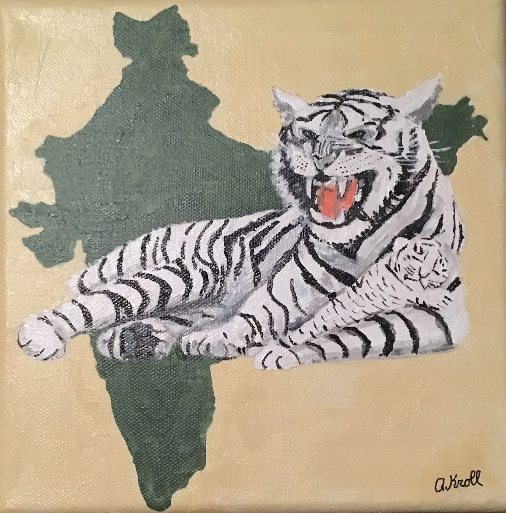 """""""Indian White Tiger"""", acrylic painting by Amanda Kroll ..."""