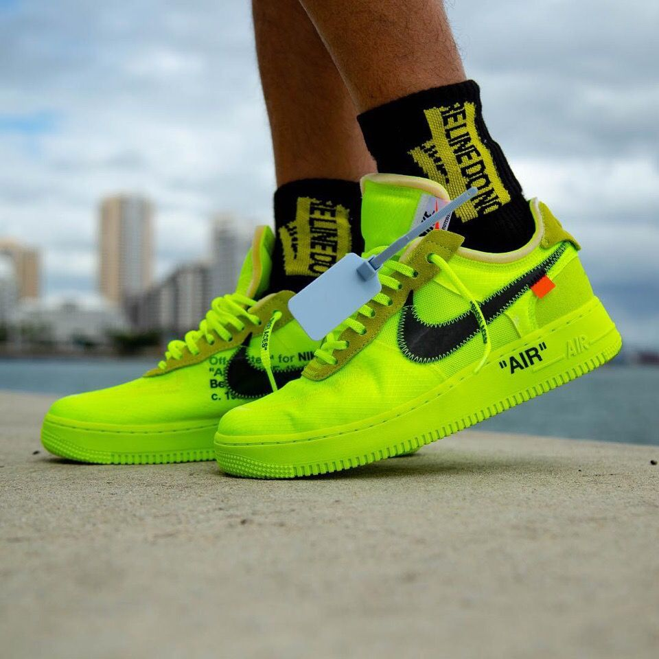 x off white air force 1 neon