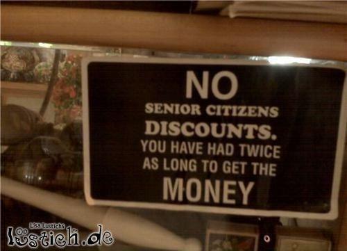 Kein Rabatt für Senioren