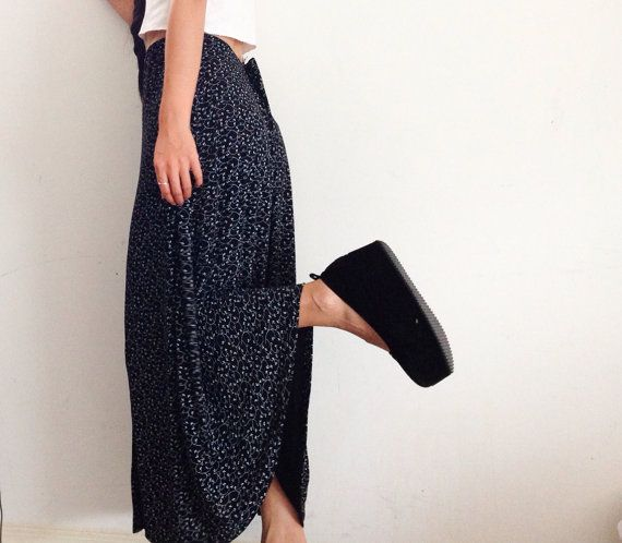 Black and white floral print maxi skirt size by RaidedClosets, $25.00