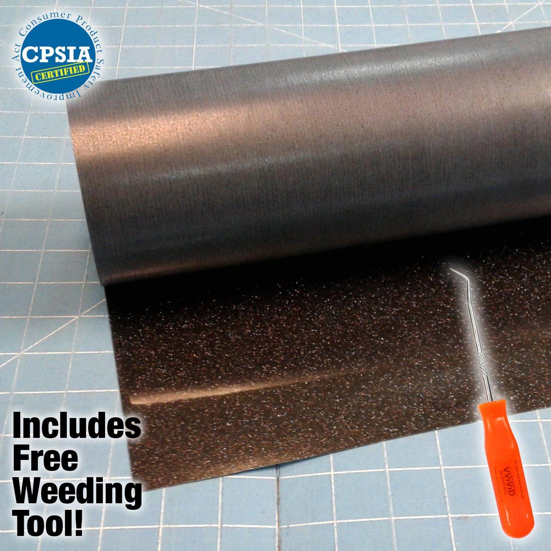 Siser Glitter Black Easyweed Heat Transfer Craft Vinyl Roll Including Vvividbrand Stainless Steel Weeding Tool 5ft X Transfer Crafts Weeding Tools Vinyl Crafts
