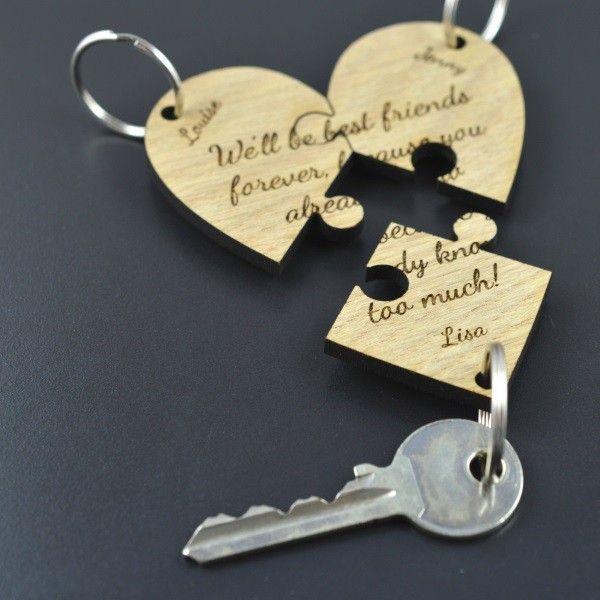 Personalised Best Friend Jigsaw Piece Keyring Heart Set Unique ...