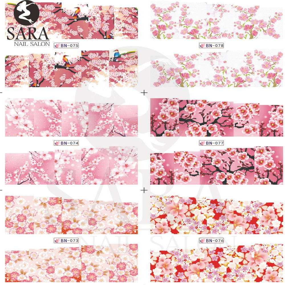 Sara Nagelstudio 1 blatt Schönheit Leoparden & Blumen Wassertransfer Nail Sticker Nail art Tips Decals DIY Nails Wraps SABN073-096