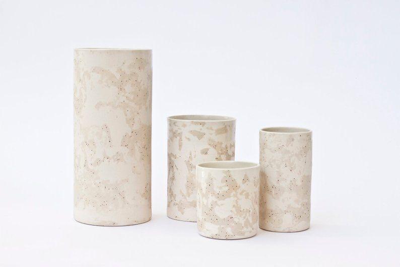 Cylinder Tall Vase White Marble Pattern Etsy Marble Pattern Marble Ceramics Ceramic Vase
