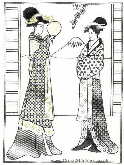 Blackwork Geishas in Conversation