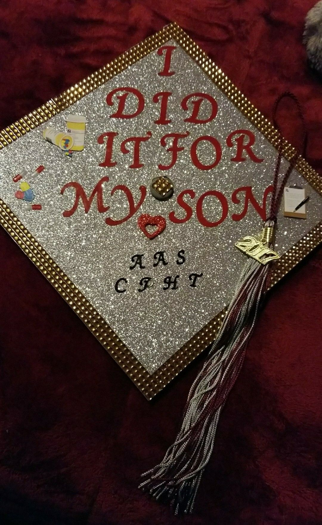 finished my graduation cap.. dedicated to my son because he is the