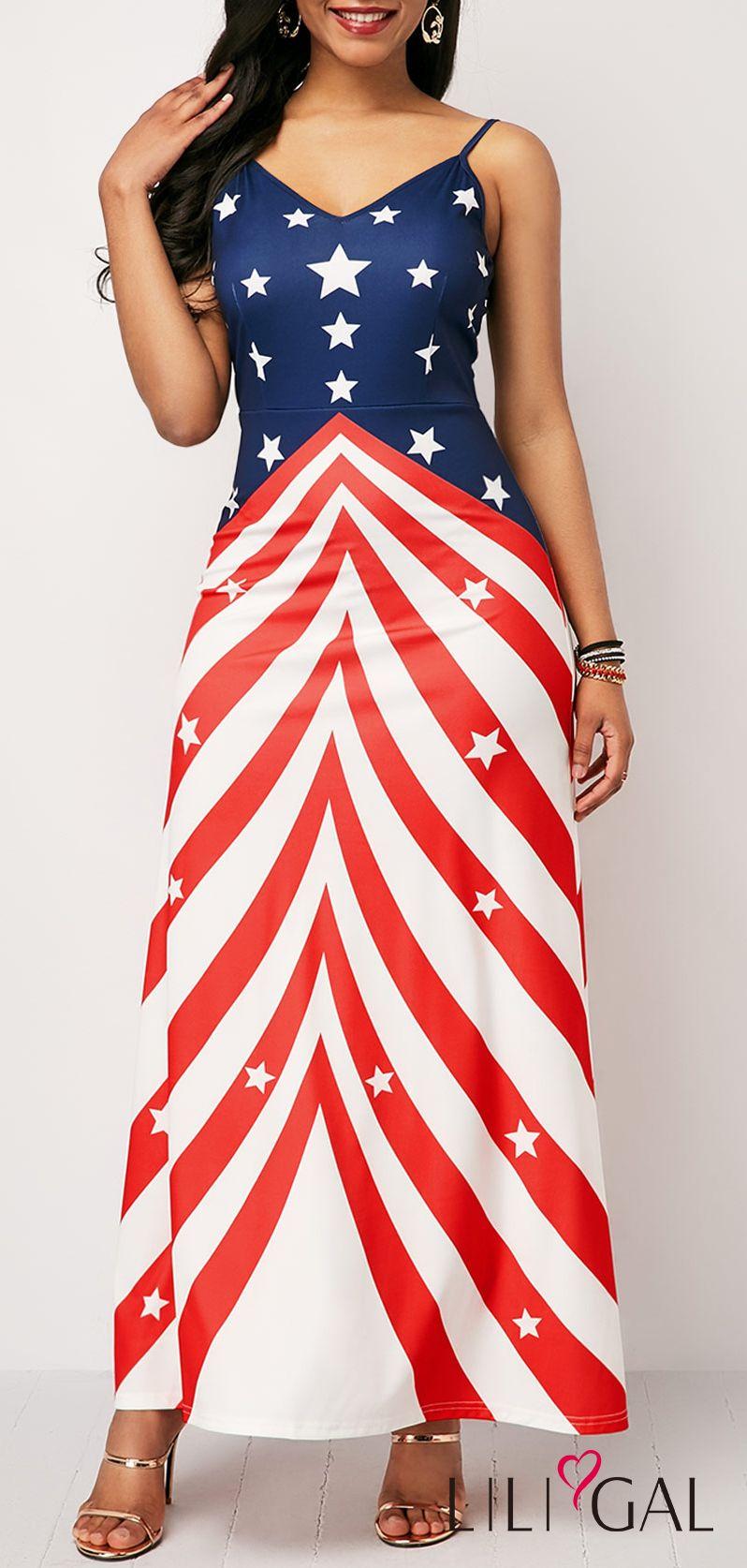American Flag Print V Neck Sheath Dress #liligal #4thofjuly