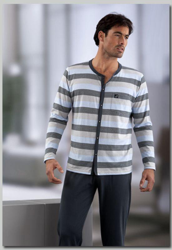 6448fab9d6 Men s Pajama Set MASSANA Buttoned Stripes Cotton Winter Sleepwear P631317  Pyjama