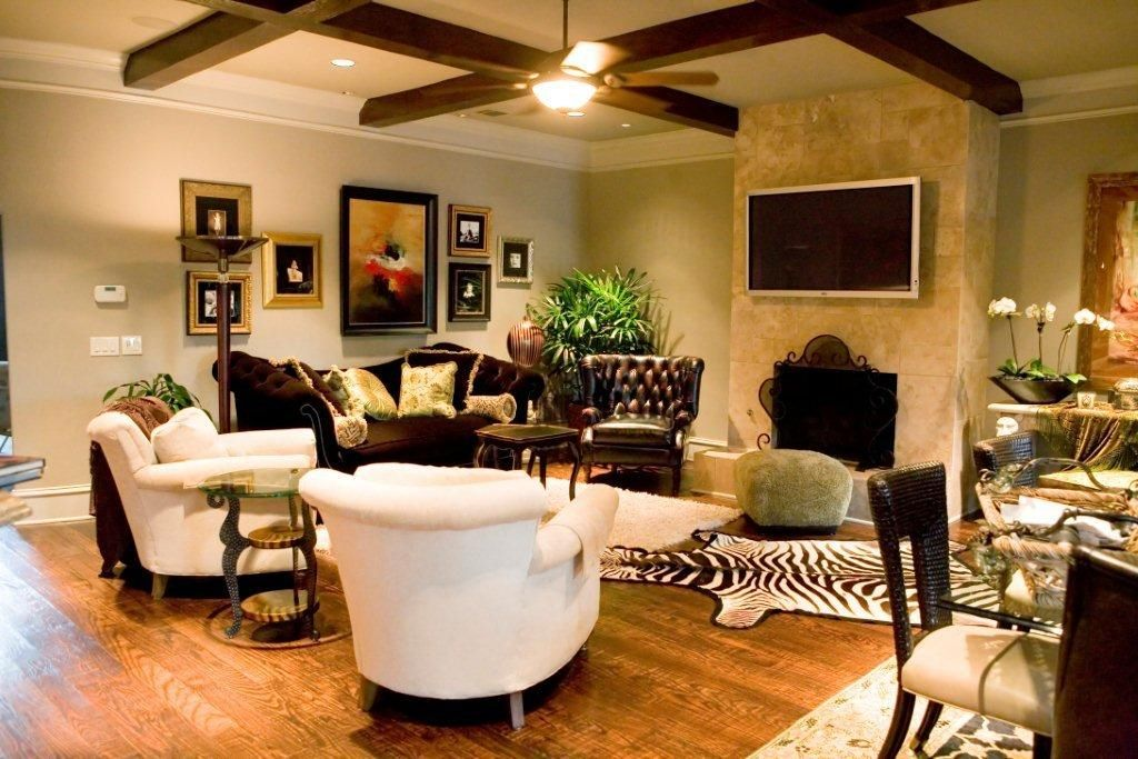 Warm brown velvet and neutrals for an inviting Family Room by Barbara Owens Interiors