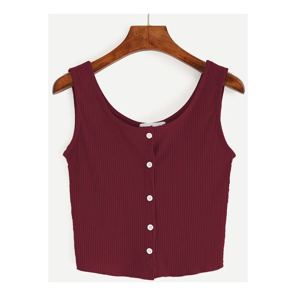 Burgundy Button Front Ribbed Tank Top ($7.99) ❤ liked on Polyvore featuring tops, ribbed top, burgundy tank, button front tank top, rib top and rib tank top