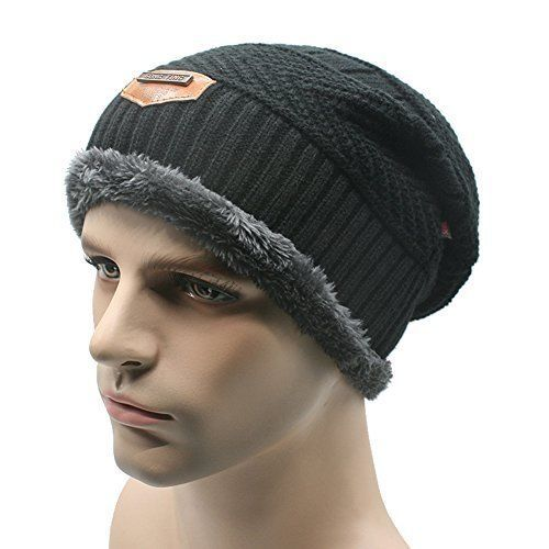 Gellwhu Men Soft Lined Thick Wool Knit Skull Cap Warm Winter Slouchy ...